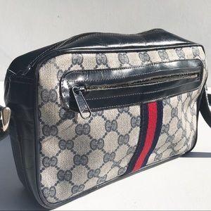 Vintage 80s Gucci Shoulder Bag logo stripe purse
